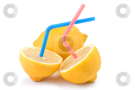 Concept of lemon juice stock photo, Color Straw on lemon, concept of kiwi juice by Lawren