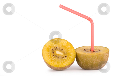 Concept of kiwi juice stock photo, Color Straw on kiwi, concept of kiwi juice by Lawren