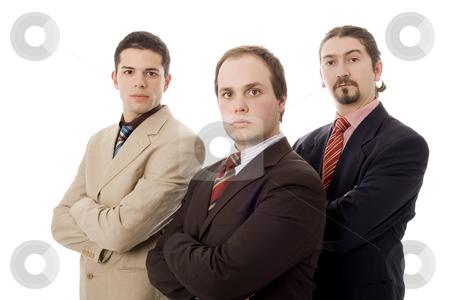 Three men stock photo, Three business men white isolate by Marc Torrell