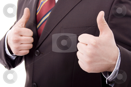 Ok stock photo, Youn man hands ok sign white isolate by Marc Torrell