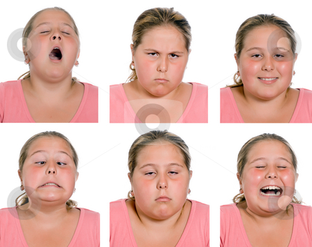 Emotions stock photo, A young girl making and showing different emotions, isolated against a white background by Richard Nelson