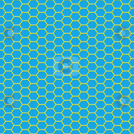 Glossy wire pattern stock photo, Seamless 3d texture of yellow geometric shapes on blue by Wino Evertz
