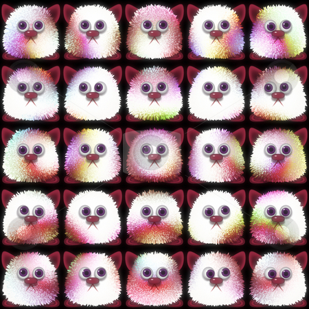 Cuddly animal monsters stock photo, Series of cute little plush animal mascottes looking around by Wino Evertz