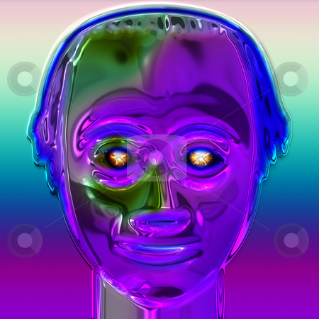 Robot face stock photo, Purple shining friendly human like android with glowing eyes by Wino Evertz
