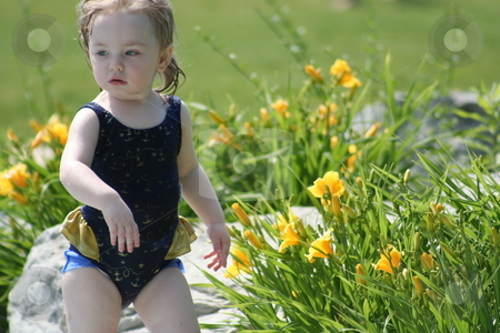 Toddler in Swim Suit stock photo, Little girl in blue swim suit by Debbie Hayes