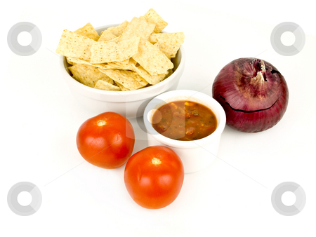 Chips and Salsa stock photo, Chips and salsa on a white background with condiments by John Teeter