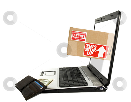 Online Shipping stock photo, Online shipping concept with white background by John Teeter