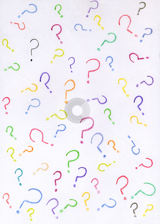 Lots of colorful question marks drawn with crayons on white paper. stock photo, Lots of colorful question marks drawn with crayons on white paper. by Stephen Rees