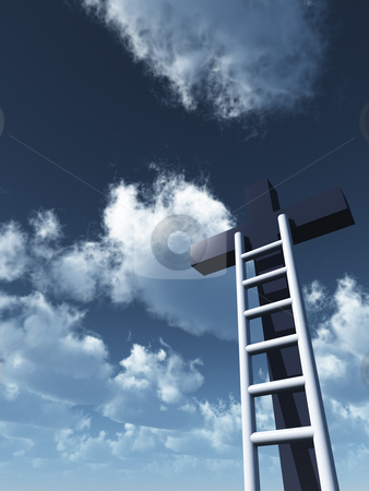Christ stock photo, Ladder and christian cross in front of blue sky - 3d illustration by J?
