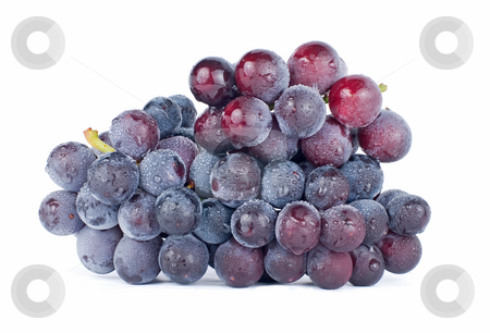 Grapes with drops, fruit stock photo, Isolated grapes with drops on white background by Lawren