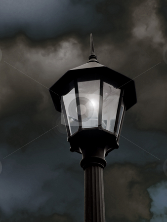Lamp Post  - Digital Art stock photo, Lamp Post  - Digital Art, an illuminated lamp post with a dark storm cloud sky in the background. by Dazz Lee Photography