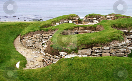 Old settlement skara brae stock photo, Old historic settlement skara brae on orkney island by Karin Claus