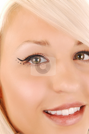 Close-up woman face. stock photo, Gorgeous blond woman face with little open mouth and nice make-up on her eyes. by Horst Petzold