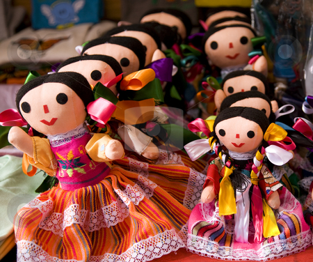 Colorful Lupita Dolls Mexico  stock photo, Colorful Lupita Dolls named after Guadalupe Janitzio Island Patzcuaro Lake Mexico Souvenirs by William Perry