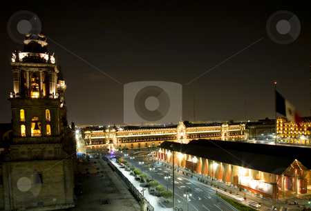 Metropolitan Cathedral Zocalo Mexico City at Night stock photo, Metropolitan Cathedral and President's Palace in Zocalo, Center of Mexico City, with Flag at Night by William Perry