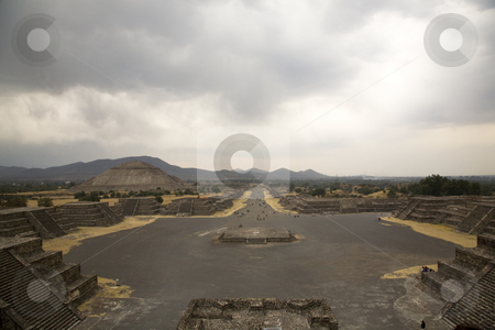 Avenue of Dead, Teotihuacan, Mexico stock photo, Avenue of Dead and Sun Pyramid, Teotihuacan, Mexico by William Perry