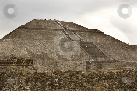 Sun Pyramid Teotihuacan Mexico stock photo, Sun Pyramid Teotihuacan Mexico Climbing up the Stairs by William Perry