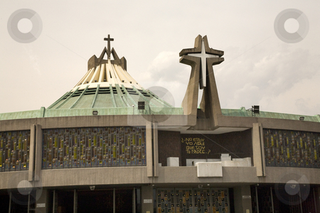 Modern Basilica, Guadalupe Shrine, Mexico City stock photo, Modern Basilica where Pope Held Mass, Guadalupe Shrine, Mexico City, Mexico.  This is the holiest spot in Mexico and Latin America for the Catholic Faithful. by William Perry