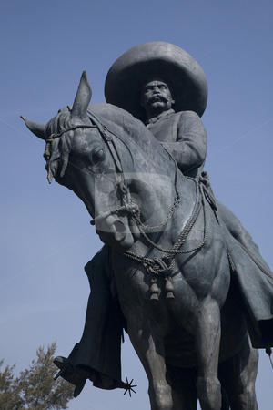 Zapata Statue Toluca Mexico Close Up stock photo, Close up of huge statue of Emiliano Zapata, revolutionary hero, on horse Toluca, Mexico by William Perry