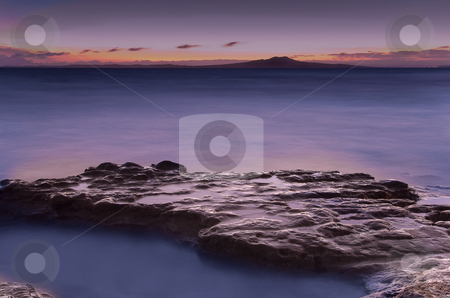 Mairangi Bay Dawns stock photo, Mairangi Bay on Auckland's North Shore. One of a number of great beaches on the East Coast Bays area, like all of these beaches it has great views ofver Volcanic, iconic, Rangitoto Island by Robin Ducker