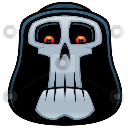 Grim Reaper stock vector clipart, Vector cartoon illustration of the Grim Reaper. Angel of Death skull with red eyes and hood. by John Schwegel