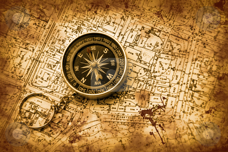 Compass and map stock photo, Compass have put on a map to learn the further way by Aleksandr GAvrilov