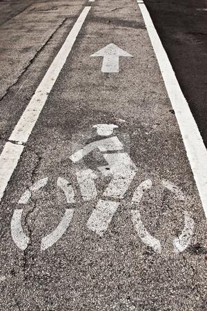 Bicycle Lane stock photo, Bicycle Lane Sign on the Road by Jose Wilson Araujo