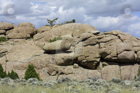Rock Mountain stock photo, Balancing rocks grouped together to form Rock Mountain by Marburg
