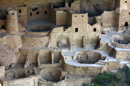 Anasazi Cliff Dwelling stock photo, Ancient cliff dwellings left behind by the Anasazi approximately 1200 years ago.  The dwellings are build into the canyons inside a cave. by Marburg