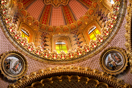 Guadalupita Church Dome Inside Close Up with Details stock photo, Guadalupita Church pink and gold Dome Inside Close up with details Baroque Ornate and beautiful by William Perry