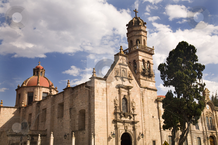 Guadalupita Church Morelia Mexico Outside Blue Skies stock photo, Guadalupita Church Morelia Mexico Outside Overview Dome and Steeple by William Perry