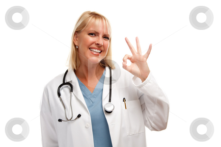 Friendly Female Blonde Doctor stock photo, Friendly Female Blonde Doctor or Nurse with Okay Sign Isolated on a White Background. by Andy Dean