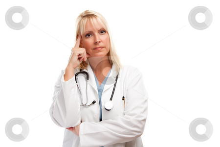 Serious Female Blonde Doctor stock photo, Serious Female Blonde Doctor or Nurse Isolated on a White Background. by Andy Dean