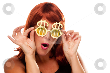 Red Haired Girl with Bling-Bling Dollar Glasses stock photo, Red Haired Girl with Bling-Bling Dollar Glasses Isolated on a White Background. by Andy Dean