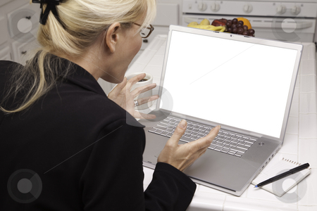 Excited Woman In Kitchen Using Laptop with Blank Screen stock photo, Woman Sitting In Kitchen Using Laptop with Blank Screen. Screen can be easily used for your own message or picture using the included clipping path. by Andy Dean
