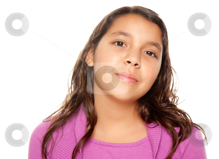 Pretty Hispanic Girl Portrait stock photo, Pretty Hispanic Girl Portrait Isolated on a White Background. by Andy Dean