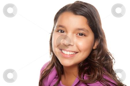 Pretty Hispanic Girl Portrait stock photo, Pretty Hispanic Girl Portrait Isolated on a White Background. by Andy Dean
