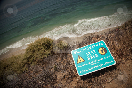 Stay Back Warning Sign at Cliff Edge stock photo, Stay Back Warning Sign On Cliff Edge Near Ocean. by Andy Dean