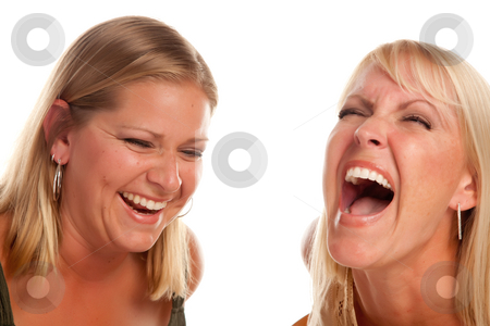 Two Beautiful Sister Laughing stock photo, Two Beautiful Sister Laughing Isolated on a White Background. by Andy Dean