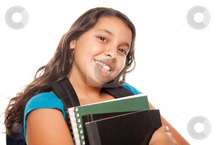Pretty Hispanic Girl with Books and Backpack stock photo, Pretty Hispanic Girl with Books and Backpack Ready for School Isolated on a White Background. by Andy Dean