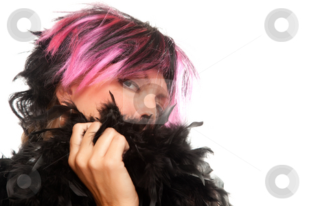 Pink And Black Haired Girl with Boa Portrait stock photo, Pink And Black Haired Girl with Boa Portrait Isolated on a White Background. by Andy Dean