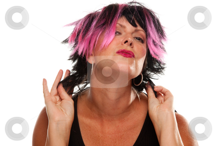 Pink And Black Haired Girl Portrait stock photo, Pink And Black Haired Girl Portrait Isolated on a White Background. by Andy Dean