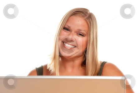 Beautiful Smiling Blonde Woman Using Laptop stock photo, Smiling Beautiful Blonde Woman Using A Laptop. by Andy Dean