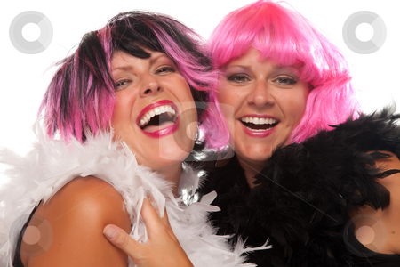 Portrait of Two Pink And Black Haired Smiling Girls stock photo, Portrait of Two Pink And Black Haired Smiling Girls with Boas Isolated on a White Background. by Andy Dean