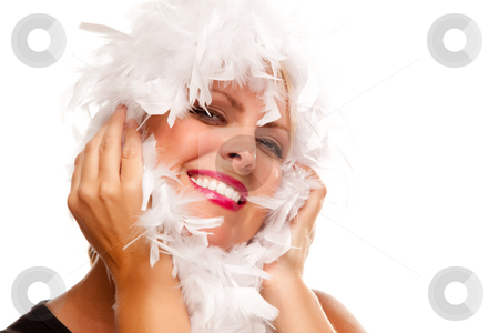 Pretty Girl with White Boa stock photo, Pretty Girl with White Boa Isolated on a White Background. by Andy Dean