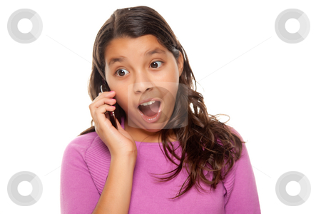 Shocked Pretty Hispanic Girl On Cell Phone stock photo, Shocked Pretty Hispanic Girl On Cell Phone Isolated on a White Background. by Andy Dean