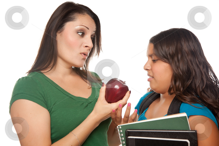 Hispanic Mother and Daughter with Books and Apple Ready for Scho stock photo, Hispanic Mother and Daughter with Books and Apple Ready for School Isolated on a White Background. by Andy Dean