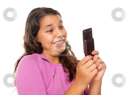 Happy Pretty Hispanic Girl On Cell Phone  stock photo, Happy Pretty Hispanic Girl On Cell Phone Isolated on a White Background. by Andy Dean