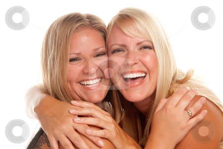Two Beautiful Sisters Laughing stock photo, Two Beautiful Sisters Laughing Isolated on a White Background. by Andy Dean
