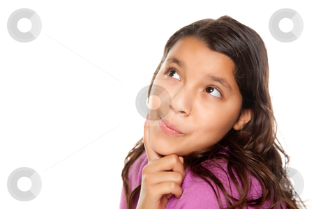 Pretty Hispanic Girl Thinking stock photo, Pretty Hispanic Girl Thinking Isolated on a White Background. by Andy Dean